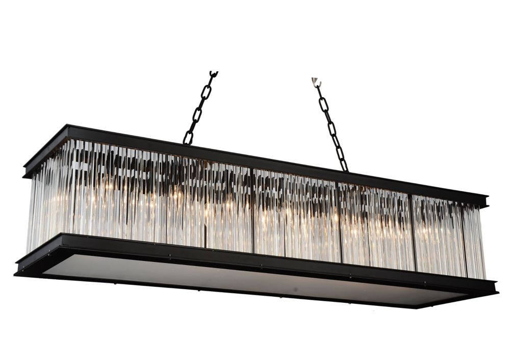 CWI Lighting Mira 50 inch 14 Light Chandelier with Black Finish and Clear Crystals