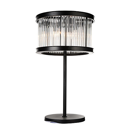 Mira 18 inch 4 Light Table Lamp with Black Finish and Clear Crystals