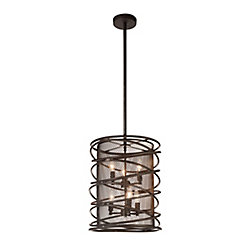 Darya 15 inch 6 Light Chandelier with Brown Finish