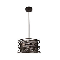 Darya 18-inch 3 Light Chandelier with Brown Finish