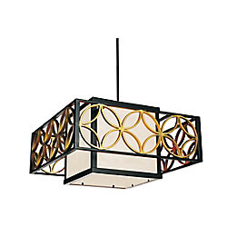 CWI Lighting Eva 21 inch 2 Light Chandelier with Golden Line Bronze Finish