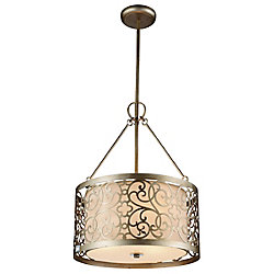 Alexandra 15 inch 3 Light Chandelier with Rubbed Silver Finish