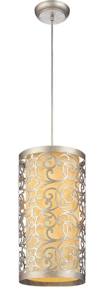 CWI Lighting Alexandra 8 inch 2 Light Mini Pendant with Rubbed Silver Finish