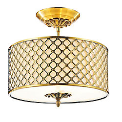CWI Lighting Gloria 16 inch 3 Light Flush Mount with French Gold Finish