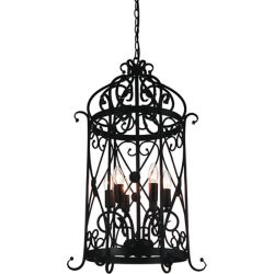 CWI Lighting Kate 18 inch 6 Light Chandelier with Black Finish