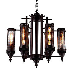 Vivian 28 inch 6 Light Chandelier with Rust Finish