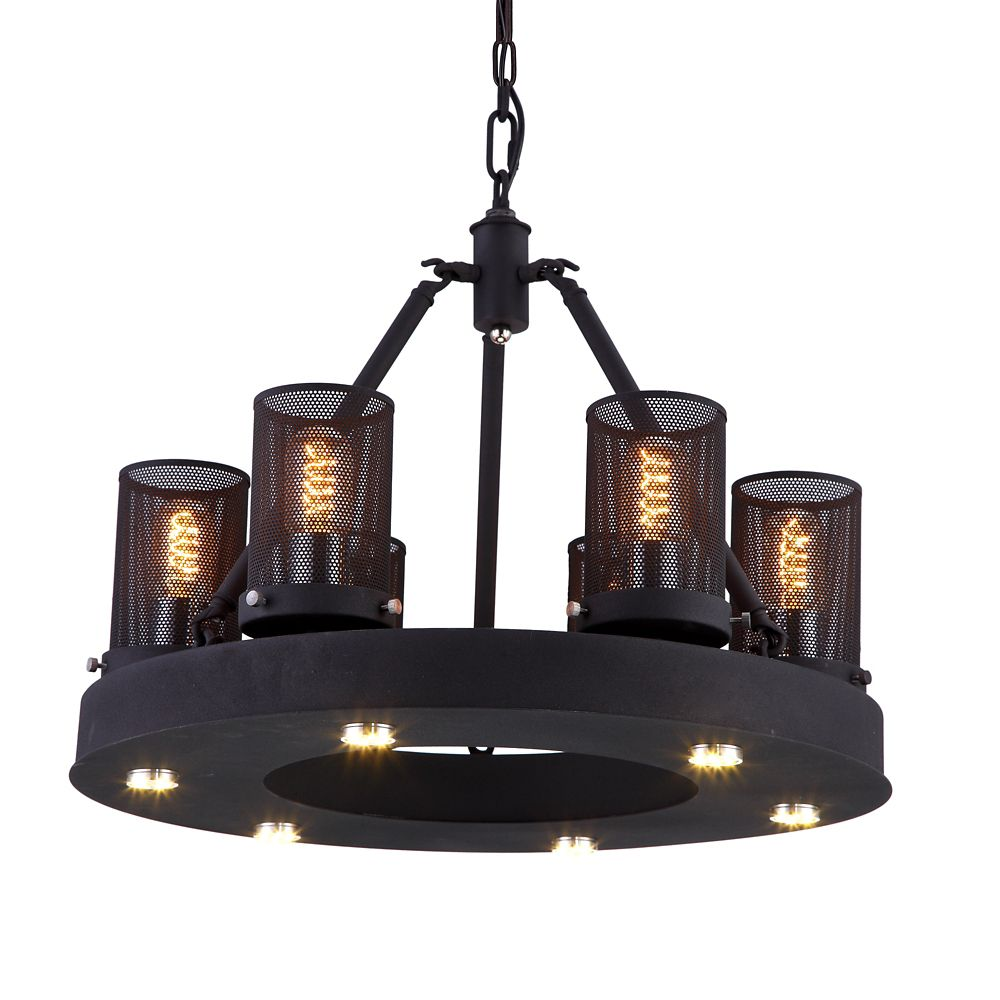 CWI Lighting Kenedi 22 inch LED Chandelier with Rust Finish