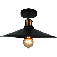 Brave 13 inch 1 Light Flush Mount with Black Finish