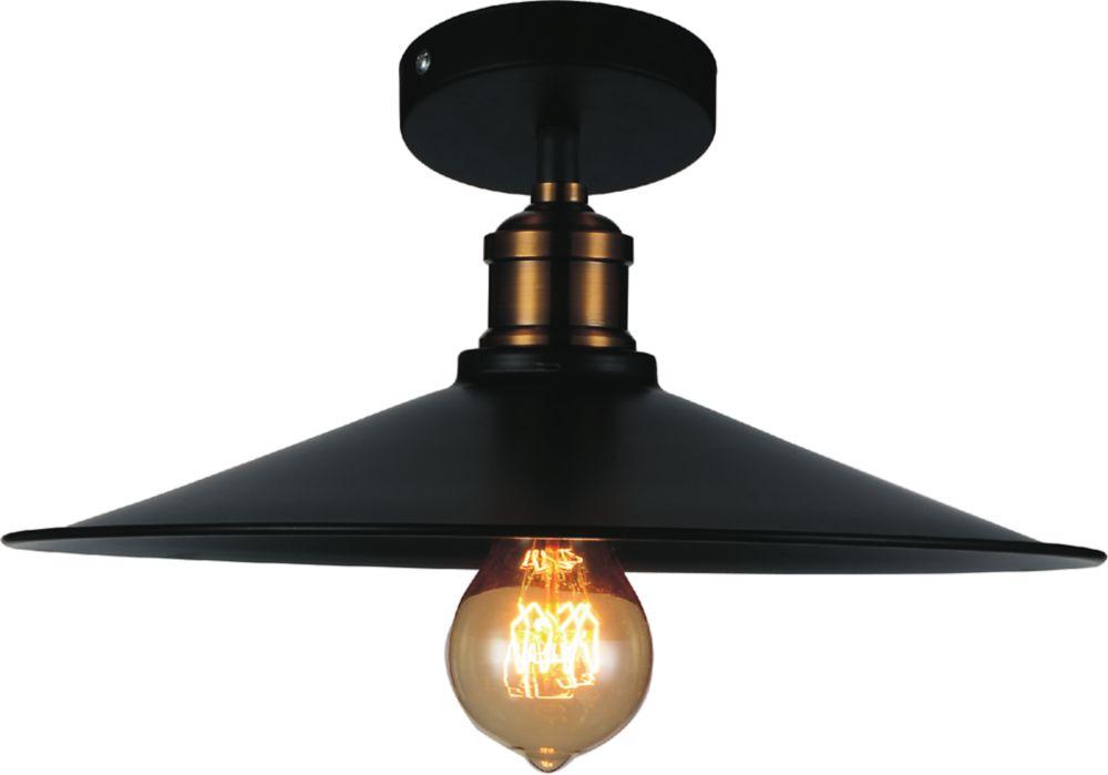 CWI Lighting Brave 13 inch 1 Light Flush Mount with Black Finish