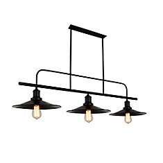 Brave 46 inch 3 Light Chandelier with Black Finish