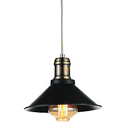 Brave 8 inch 1 Light Mini Pendant with Black Finish