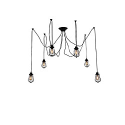 Tomaso 28 inch 6 Light Chandelier with Black Finish