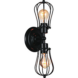 CWI Lighting Tomaso 5 inch 2 Light Wall Sconce with Black Finish