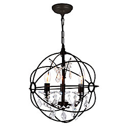 Campechia 13 inch 3 Light Mini Pendant with Brown Finish