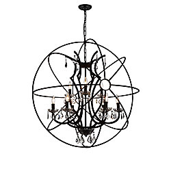 Campechia 36 inch 9 Light Chandelier with Brown Finish