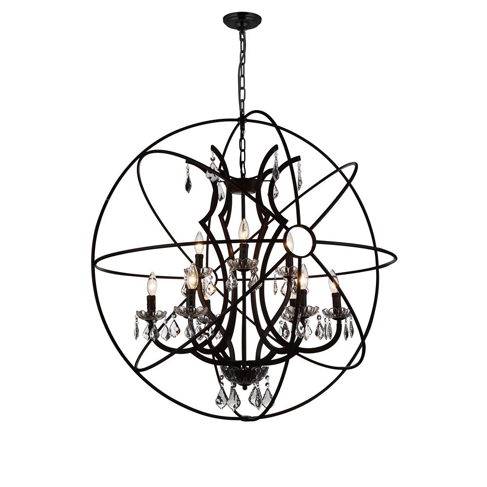 CWI Lighting Campechia 36 inch 9 Light Chandelier with Brown Finish