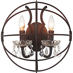 Campechia 14 inch 2 Light Wall Sconce with Brown Finish