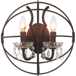 CWI Lighting Campechia 14 inch 2 Light Wall Sconce with Brown Finish