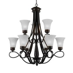 CWI Lighting Barley 33 inch 9 Light Chandelier with Standard Dark Bronze Finish