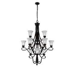CWI Lighting Barley 38 inch 12 Light Chandelier with Standard Dark Bronze Finish