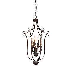 Maddy 19-inch 9-Light Chandelier with Rubbed Brown Finish
