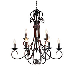 Maddy 29 inch 9 Light Chandelier with Oil Rubbed Brown Finish