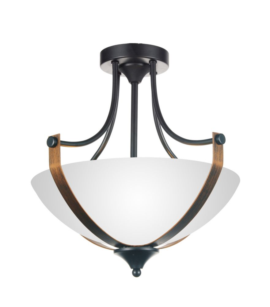 CWI Lighting Solis 15-inch 2 Light Flush Mount with Brushed Golden Brown Finish