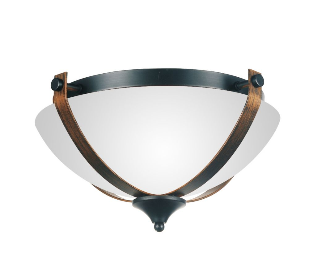 CWI Lighting Solis 15 inch 2 Light Flush Mount with Brushed Golden Brown Finish