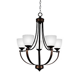 CWI Lighting Solis 23 inch 5 Light Chandelier with Brushed Golden Brown Finish