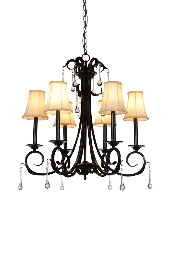 CWI Lighting Marilyn 27 inch 6 Light Chandelier with Espresso Finish