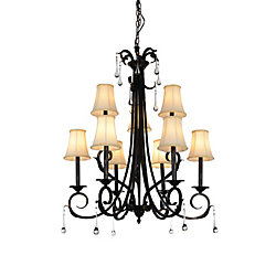 CWI Lighting Marilyn 30 inch 9 Light Chandelier with Espresso Finish