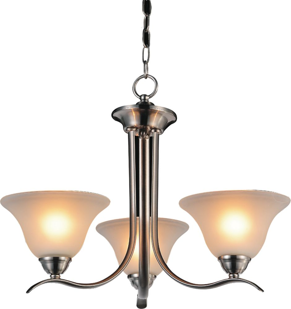 CWI Lighting Cosmo 21 inch 3 Light Chandelier with Satin Nickel Finish