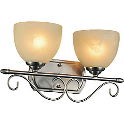 Selena 17 inch 2 Light Wall Sconce with Satin Nickel Finish