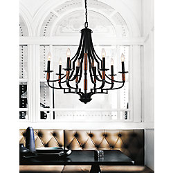 Scarlet 28 inch 8 Light Chandelier with Black Finish