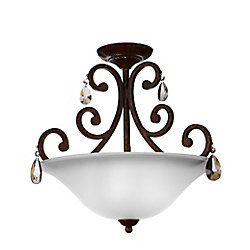 Shakira 19 inch 3 Light Flush Mount with Dark Bronze Finish