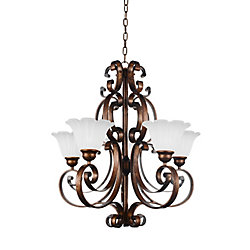 Victorian 28 inch 5 Light Chandelier with Antique Gold Finish
