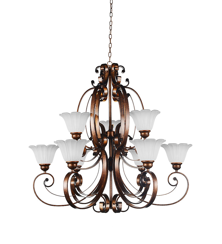 Victorian 40 inch 9 Light Chandelier with Antique Gold Finish