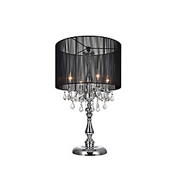 Sheer 20-inch 4 Light Table Lamp with Chrome Finish