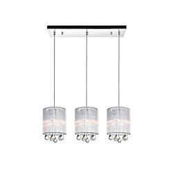 Water Drop 24-inch 3 Light Chandelier with Chrome Finish