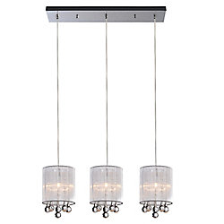 CWI Lighting Water Drop 24 inch 3 Light Chandelier with Chrome Finish