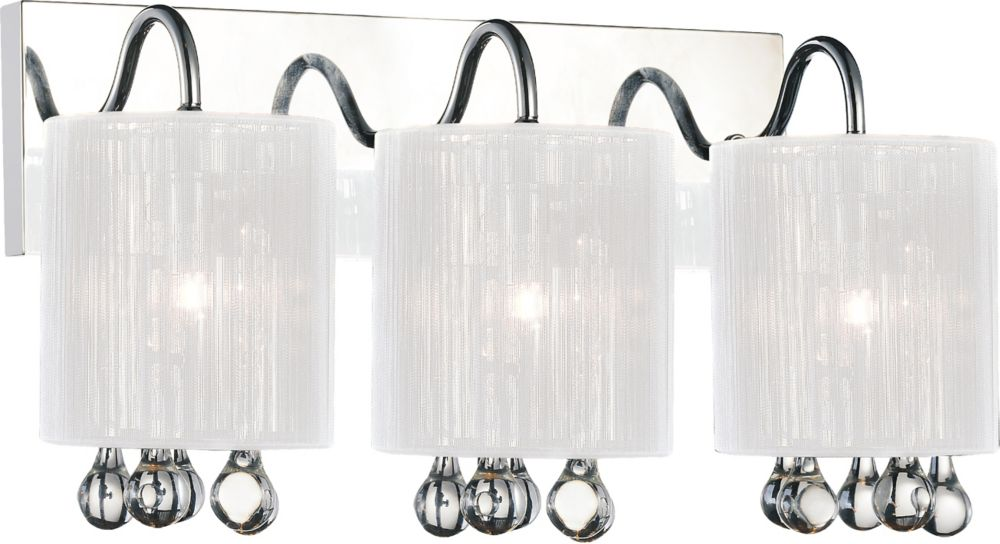 CWI Lighting Water Drop 18 inch 3 Light Wall Sconce with Chrome Finish
