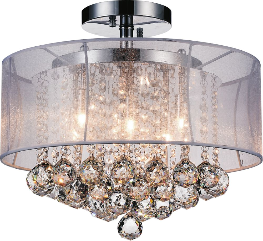 CWI Lighting Radiant 16 inch Six Light Flush Mount with Chrome Finish