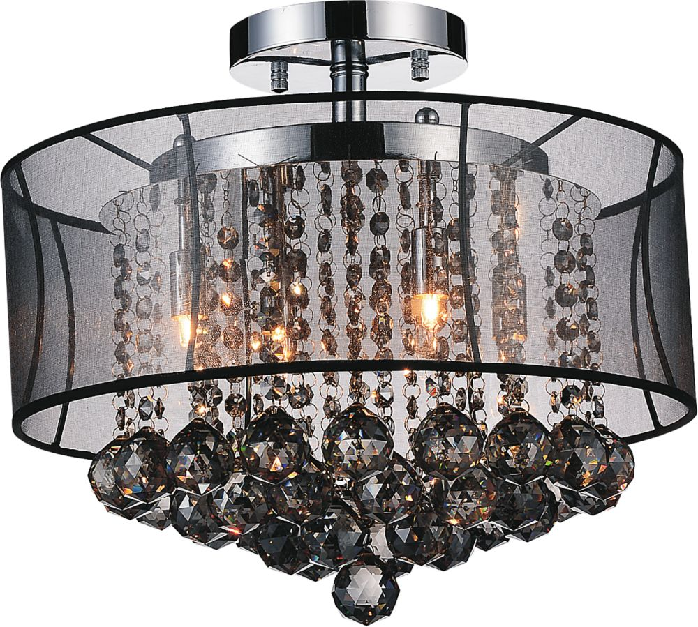 CWI Lighting Radiant 16 inches 6 Light Flush Mount with Chrome Finish