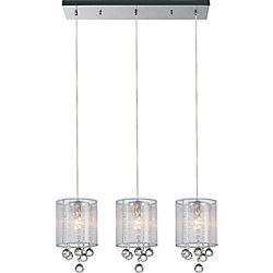 Radiant 24 inch Three Light Chandelier with Chrome Finish