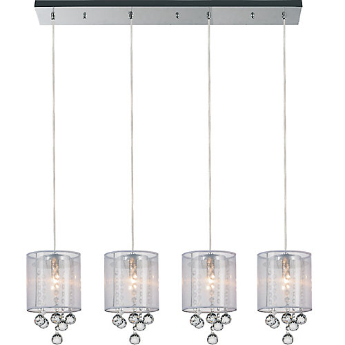 Radiant 33 inches 4 Light Chandelier with Chrome Finish