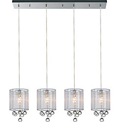 CWI Lighting Radiant 33 inches 4 Light Chandelier with Chrome Finish