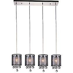 Radiant 33 inch 4 Light Chandelier with Chrome Finish and Black Shade