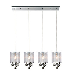 Radiant 33 inch 4 Light Chandelier with Chrome Finish