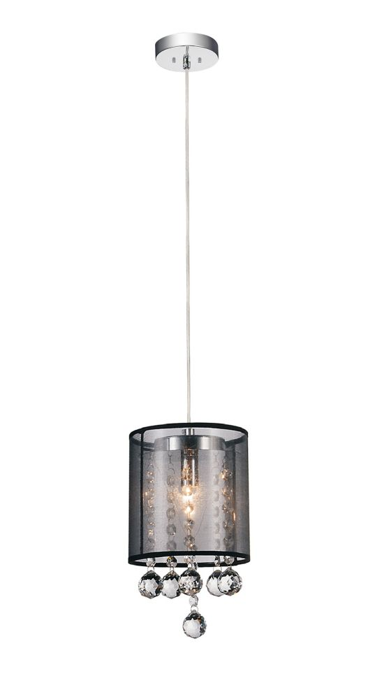 CWI Lighting Radiant 6-inch 1 Light Mini Pendant with Chrome Finish