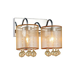 CWI Lighting Radiant 12-inch 2 Light Wall Sconce with Chrome Finish